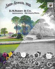Adult Coloring Book (24 pages) Vintage Seeds Flowers Pansies FLONZ grayscale 056