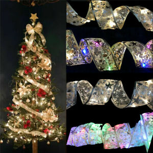 Christmas 50 LED Fairy Lights Strings Double Layer Ribbon Bows Party Decoration