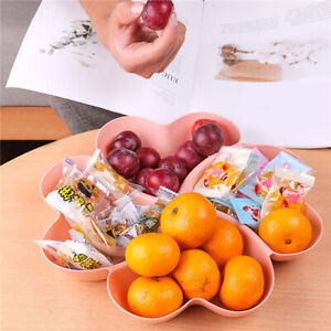 Compartment Plastic Fruit Serving Tray Portable Container Heart-Shaped AA