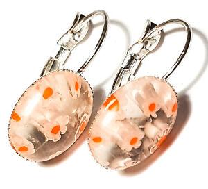 Short Orange Millefiori Earrings Silver Plated Leverback Glass cabochon
