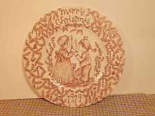 "Royal Crownford China Merry Christmas Pink 8 3/4"" Salad Plate 1979"