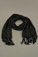 Charter Club Feather Woven Metallic Scarf Black MSRP $42