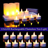 Set of 12 Rechargeable Amber Flickering Tea Lights Tealights Candles +