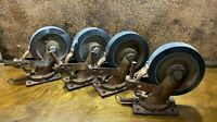 Set 4 Vintage Large Industrial Railroad Train Cart Wheels / Casters Steampunk