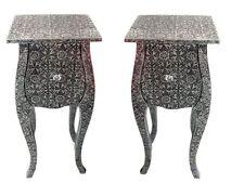 2 EMBOSSED BLACK SILVER BEDSIDE CABINETS ONE DRAWER BEDSIDE LAMP TABLE  BEDROOM