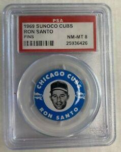 1969 SUNOCO CUBS RON SANTO PINS-PSA 8 NM-MT