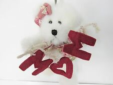"""Boyds #562472 - """"Mom"""" Mother's Day 6"""" White Plush Jointed Bear, can be Ornament!"""