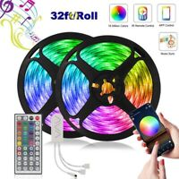 32/65ft Music Sync 5050 LED Strip Lights Mic Bluetooth Control Color Change SETS