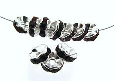 10 GARNET RHINESTONE & STERLING 6mm Rondelle Beads