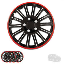 NEW 15 INCH BLACK W RED RIM WHEEL HUBCAPS COVER LUG SKIN SET FOR JEEP 527