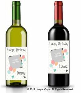 Personalised wine bottle sticker, Happy Birthday Sticker add Name & Photo decal