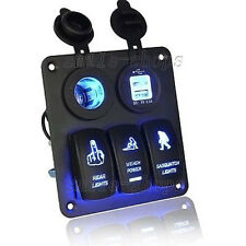 Car Marine Boat 3-Gang Waterproof Circuit Blue LED Rocker Switch Panel Breaker