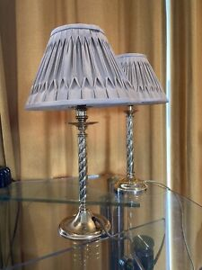2 Vintage Brass Barley Twist Lamps..With Laura Ashley Lamp Shades