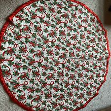 Vintage Handmade Christmas quilted tree skirt Candy canes
