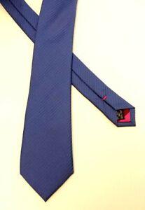 Alexandre Of England Blue Stripe Contrast Pink Stripe Reverse 100% Silk Neck Tie