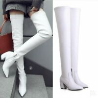 Womens Over Knee High Stretch 70cm Long Boots Low Heel Pointy Toe Party Pull On