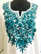 Women Cotton Embroidered Indian Kurti Kurta Tunic Cover Up Dress Top White Sz M