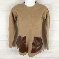 J Crew Merino Wool Women's Size XS Camel Brown Long Sleeve Faux Leather Sweater