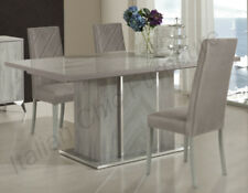Alexa Italian Dining Room Table with 6 Chairs - High Gloss Grey
