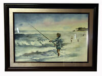 "1994 21"" Watercolor Painting Signed Wyatt Old Man Fishing Seascape & Beach"