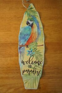 WELCOME TO PARADISE Parrot Surfboard Sign Tiki Beach Bar Tropical Home Decor NEW