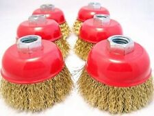 """(6-pack) 3"""" Cup Brush Brass Coated 0.012"""" / 0.3mm Steel Wire M10x1.25 grinder"""