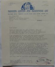 Walter Wanger signed letter,July 29, 1960,Twentieth Century-Fox.