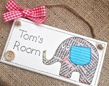 Personalised Name Plaque Door Bedroom Sign Gift Baby Boys Or Girls Animal Room ⭐