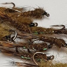 3 Olive Flashed Back Hares Ear Nymphs (  Trout / Grayling Flies )