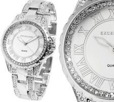 Damen Armbanduhr Silber silbern Crystalbesatz Metallarmband Excellanc 180/039