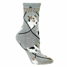 Wire Fox Terrier Dog Breed Gray Lightweight Stretch Cotton Adult Socks