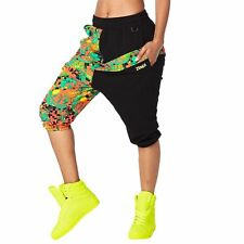Authentic New Zumba Queen Of The Jungle Harem Capri Pants  ~ Black  ~  XS  ~ NWT