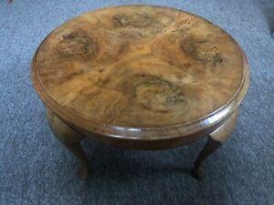 Burr Walnut Round Coffee Table, Queen Anne, Circa 1920,s
