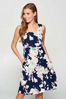 Vanilla Bay Navy Summer Floral Printed Sleeveless Mini Dress with Pockets