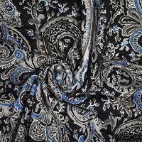 "Cotton Fabric Black Paisley Pattern 43"" Wide Sewing Material By The Yard India"
