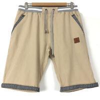 NEWS Womens Bermuda Shorts Cotton Linen Blend Beige Slash Pockets Size L