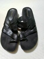 Bare Traps Womens Sandals ORCHID Black Leather Slip-on Wedge Slides Size 9 M