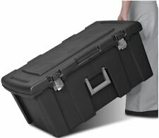 Large Plastic Storage Box Wheeled Container Gear Tote Portable Organizer Black