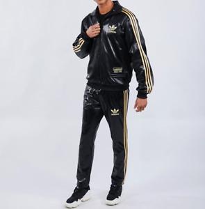 Adidas Originals Chile 62 Tracksuit Top Pants Jacket Suit Leather Look Mens Set