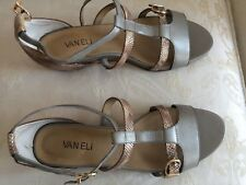 New Vaneli Strap Leather Sandals 8.5 M gold silver snake skin 2 in covered heel