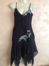 Karen Millen Black Silk Beaded Dress Size:8 UK