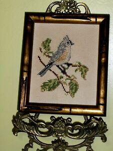 Gray Yellow Bird on a Limb Limb Tree Leaves Crewel NEEDLEPOINT WOOL Handmade VTG