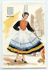Carte postale brodée et ajoutis tissus . Costume et folklore . BRETAGNE