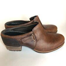 Merrell Womens Clog Block Heels Shoes Brown Leather Hook Loop Strap Round Toe 10