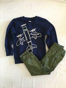 NEW Carter's Boys 2-Piece Airplane Fleece Top & Poplin Pant Set 6,7,8