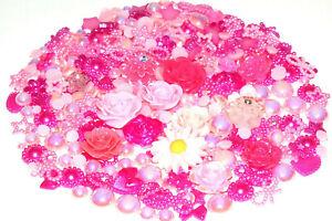 250Pcs Mixed Flowers Pearls Stars Bows Hearts Resin Flatback Craft DIY Kit PINK