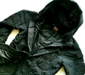 HOT Men's CARHARTT @ ANCHORAGE PARKA FUR HOODED QUILT LINED BLACK COAT JACKET XS