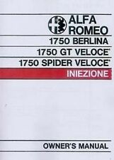 Alfa Romeo 1750 VELOCE Berlina/Spyder GTV 1971 Handbook Instruction Catalogue bo