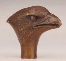 Unique Chinese Bronze Statue Eagle Cane Walking Stick Head Handle Accessorie Old