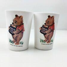 Vintage Winnie the Pooh White Plastic Child Kids Dinnerware Cups Set of 2 1964
